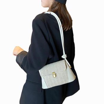 Damska Boho tkana torba na ramię wysokiej jakości skórzana szwy kobiece pusta torba na ramię Crossbody projektant modne torebki tanie i dobre opinie PUOU Shell Torby na ramię Na ramię i torby crossbody Hasp SOFT Klapa kieszeni Czeski ZGP043 Poliester Wszechstronny WOMEN