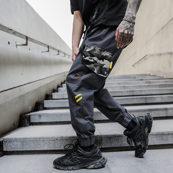 2020 NEW Color Patchwork Camouflage Straight Fashion Mens Joggers Cargo Pants Casual Trousers Streetwear Zipper Pockets Safari zipper fly straight leg pockets cargo pants