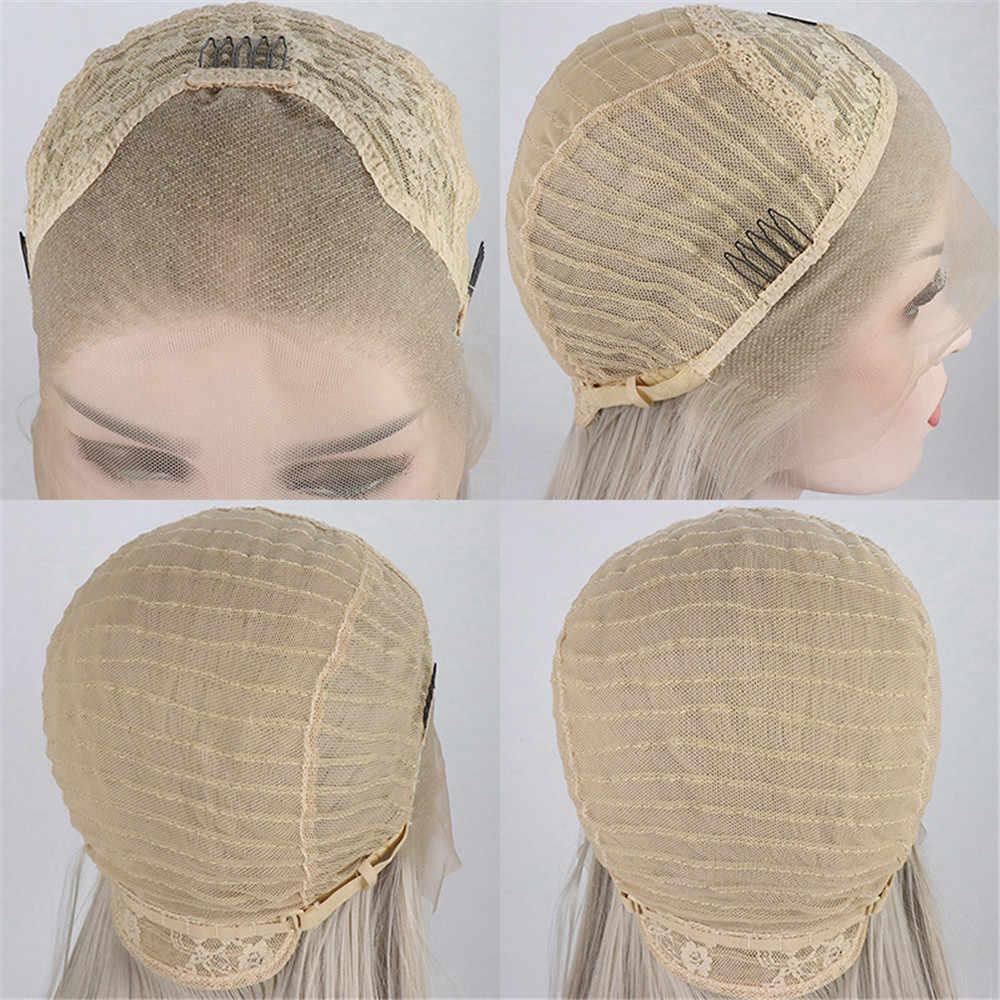 Platinum Abu Abu Panjang Lurus 13*4 Lace Front Wig Alami Rambut Tahan Panas Serat Sintetis Wig untuk Wanita dengan Bayi Rambut