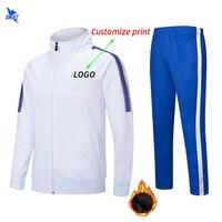Kids Mens Winter Fleece Soccer Jerseys Set Long Sleeve Football Uniforms Boys Futsal Kits Training Suit Tracksuits Sportswear