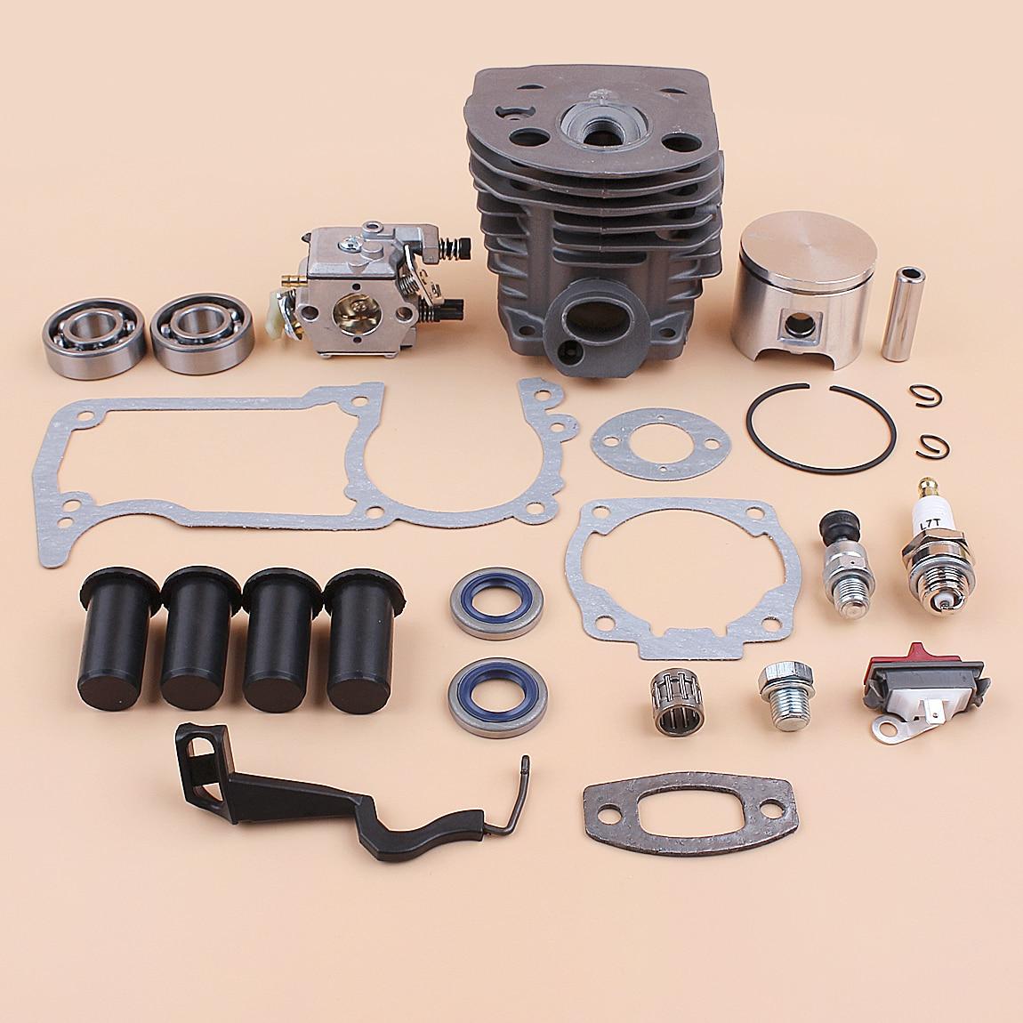 For 55 Cylinder 46MM Husqvarna Chainsaw Buffer Plug Kit Value 51 Release Choke Piston Rod Compression Carburetor AV Gaskets