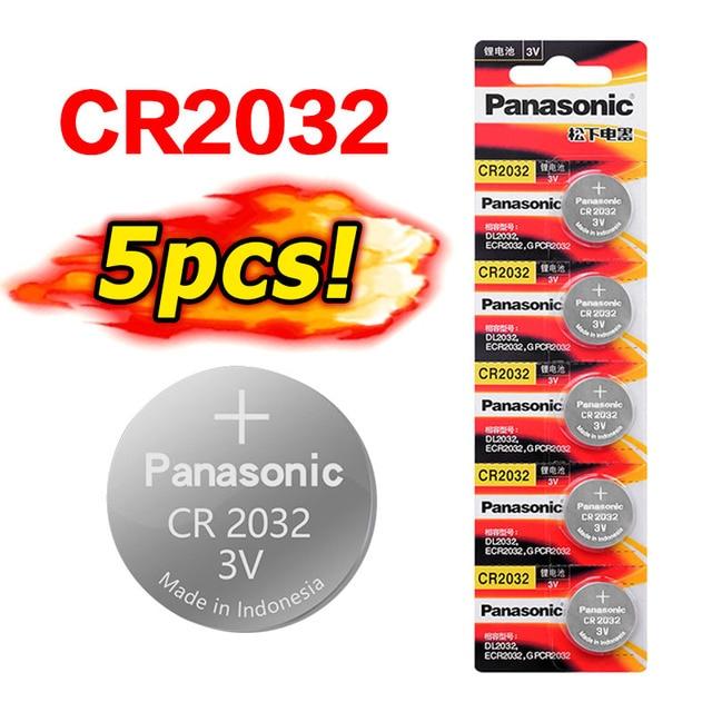 PANASONIC 5 uds batería original nueva cr2032 3v pila de botón baterías para reloj remoto ordenador electrónico cr 2032