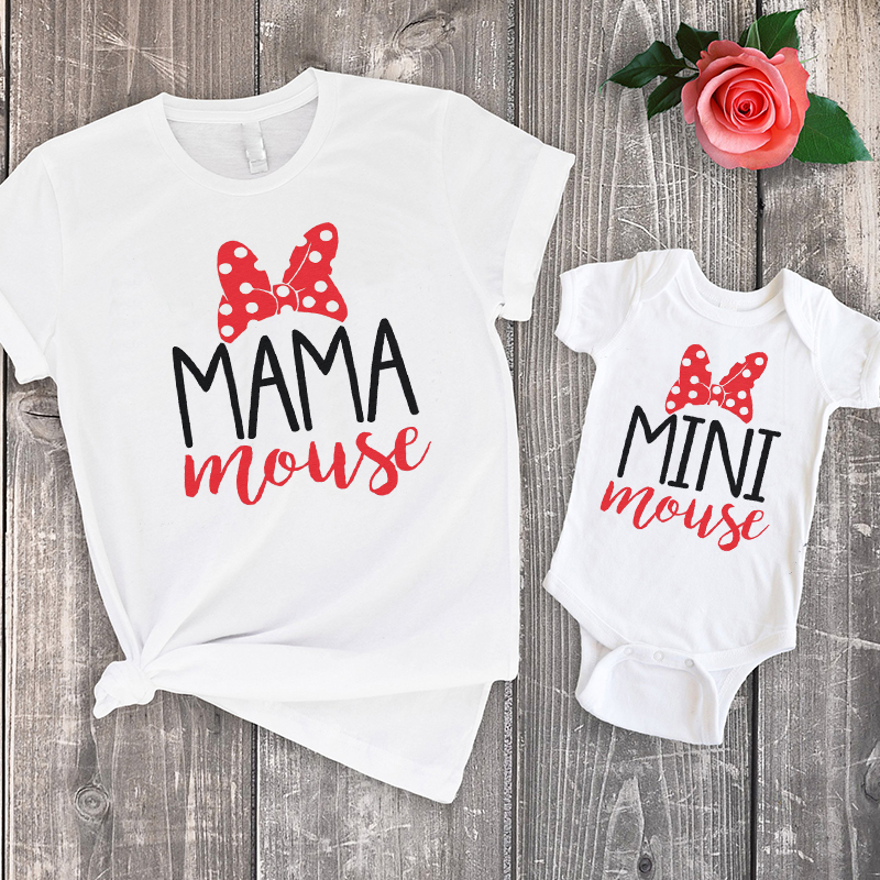 Kids Baby Bunny Pajama Shirt Mom Baby Girl Daughter Matching Tee
