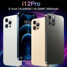 Mais novo i12 pro 5g 6.7 Polegada 6800mah grande bateria 10 núcleo 8 + 256gb 16 32mp cartão duplo android 10 face id versão global do telefone móvel