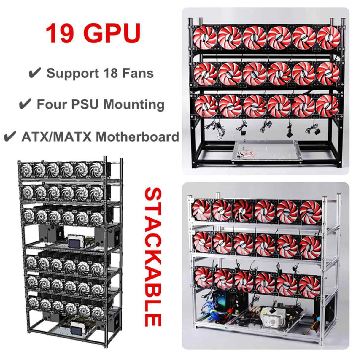 19 GPU Graphics Card Chassis Rack Open Air Mining Case Computer Graphics Chassis Frame Miner Frame Rig Temp Monitor +18pcs Fan