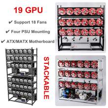 19 GPU Graphics Card Chassis Rack Open Air Mining Case Computer Graphics Chassis Frame Miner Frame Rig Temp Monitor +18pcs Fan(China)
