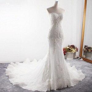 Image 3 - LZ373 Sexy Schatz Neck Sleeveless Lange Meerjungfrau Kleid Luxus Perlen Crysatl Hochzeit Kleid Robe De Mariage