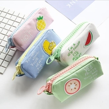 где купить Big Zipper Pencil Case School Pencil Case for Girls Boys Student Stationery Canvas Fruit Pencil Bag Cute Pen Box School Supplies дешево