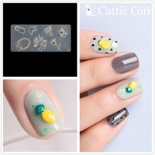 Acrylic Mold Nail-Art-Decorations Nails Cattie Banana-Rose-Pineapple Girl Silicone Design