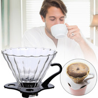 Reusable Coffee Filter Travels Tea with Base Portable Coffee Funnel Kitchen Tool Home Use Glass Restaurant Baskets Coffeemaker