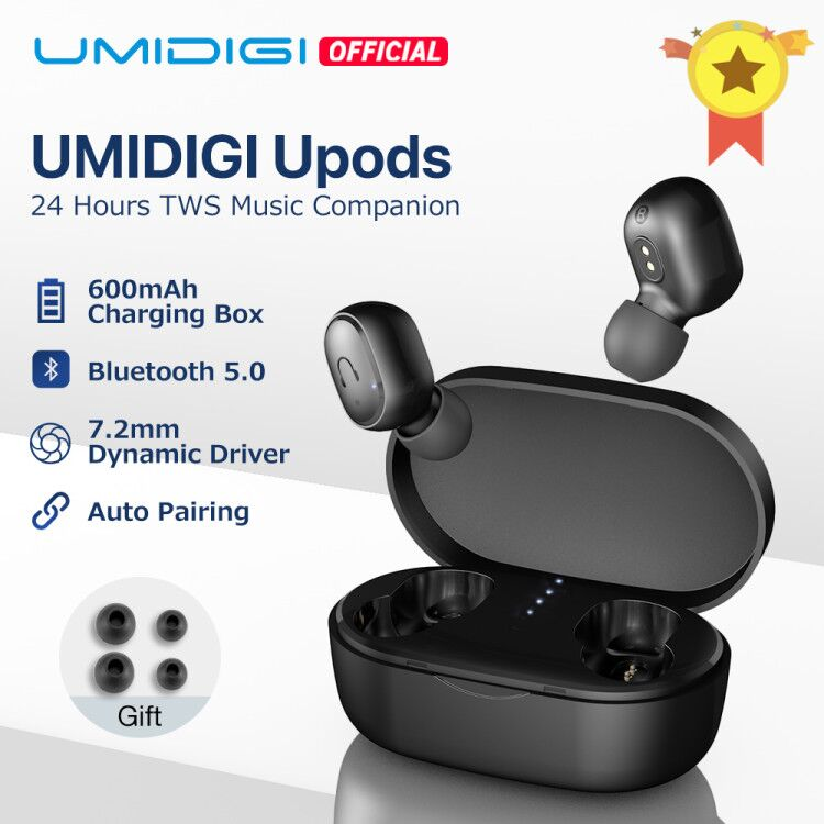 UMIDIGI Upods TWS Bluetooth 5.0  Wireless Earphone  Auto Pairing Noice Reduction with Charging box mobile phone