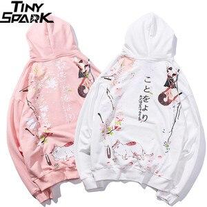 Image 3 - 2019 Hip Hop Hoodie Sweatshirt Japanse Cartoon Dronken Ninja Kat Harajuku Hoodie Streetwear Mannen Grappige Hoodies Trui Oversized