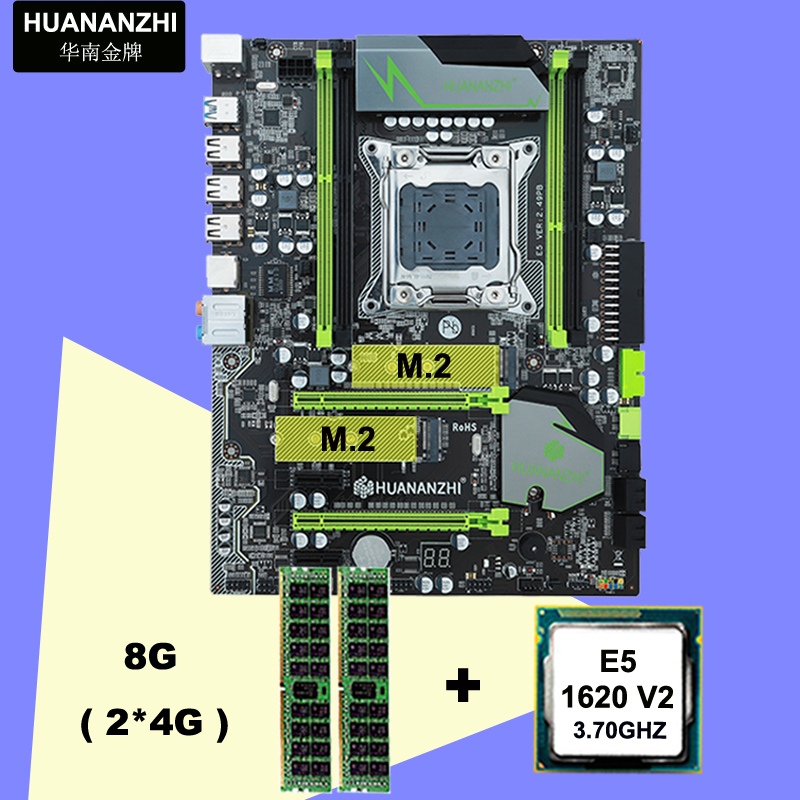 !!!HUANAN <font><b>V2</b></font>.49 X79 motherboard CPU RAM combos <font><b>Xeon</b></font> <font><b>E5</b></font> <font><b>1620</b></font> <font><b>V2</b></font> CPU (2*4G)8G DDR3 RECC memorry all good tested 2 years warranty image