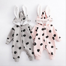 Soft cotton autumn and winter baby onesies fashion boy girls clothes infant jumpsuit cute long-sleeved hooded clothing
