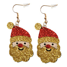 2019 Hot Sale New Earings Earing Brinco European And American Christmas Jewelry Lovely Bright Golden Santa Claus Ear Brincos
