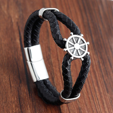 Stainless Steel Leather Bracelet simple leather bracelet mens cowhide jewelry