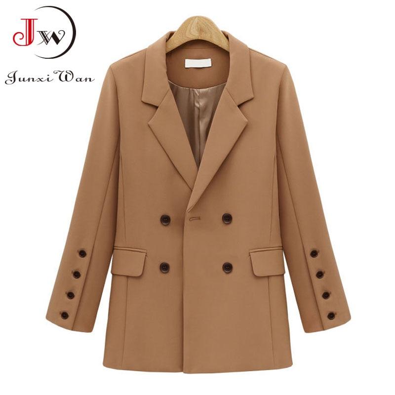 Women Blazer 2021 Solid Casual Double Breasted Office Wear Coat Jacket Long Sleeve Notched Collar Pockets Elegant Suit Outwear 1