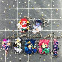 1pc novo bonito anime jojo aventura bizarra chaveiro acrílico figura kujo jotaro kira yoshikage caesar saco pingente figura brinquedos