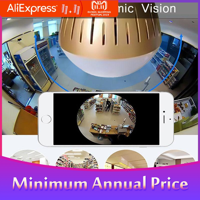 1080P HD 360 Panoramic Wifi IP Camera Light Bulb Home Security Video Camera