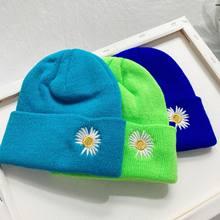 Bonnet de Sport en tricot brodé marguerite, chapeau de Ski chaud, multicolore, doux et élastique, à la mode