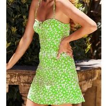 2019 New Casual Summer Womens Boho Print Sleeveless V-Neck Mini Dress Lady Beach Sundress
