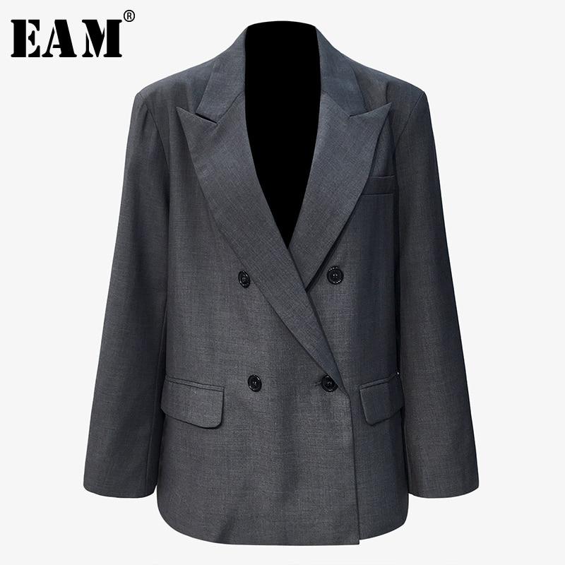 [EAM]  Women Gray Back Zipper Brief Big Size Blazer New Lapel Long Sleeve Loose Fit  Jacket Fashion Spring Autumn 2020 1T327