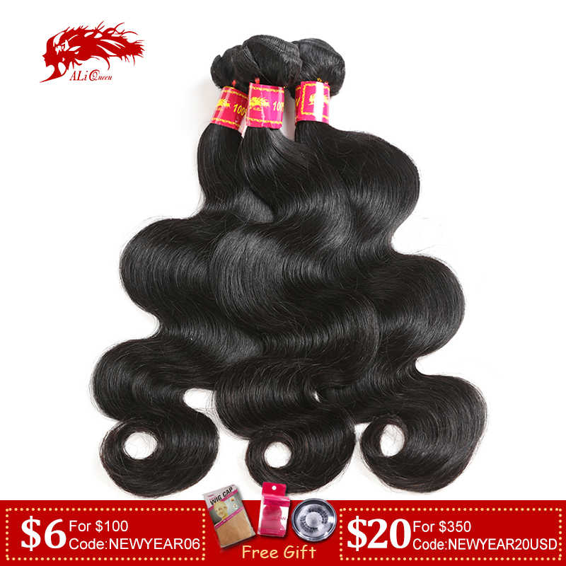 "Ali Queen Hair Body Wave Brazilian Remy Human Hair Weaves Bundles Natural Color 8""-30"" 100% Human Hair weaving 3 Pcs Lot"
