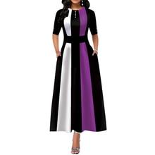 Plus Size Women Elegant Long Sleeve Patchwork Office Lady Party Long Dresses Summer Femme Vintage A-Line Half A-Line