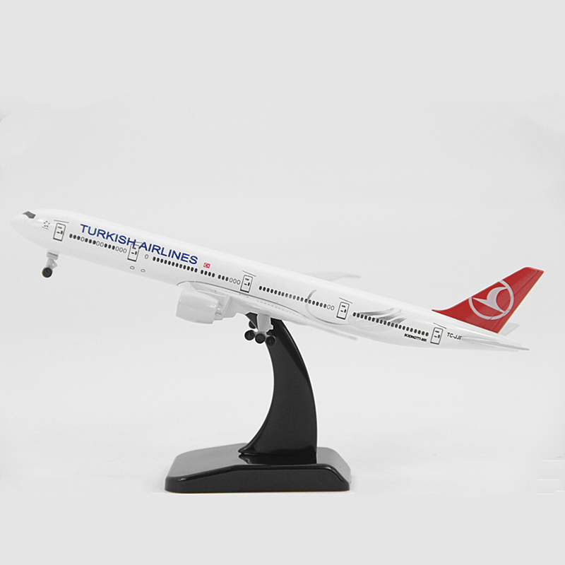 20CM Turkish Airlines  Boeing 777 Aircraft Metal Model 16CM Plane Model Airplane Toys With Wheel Collectible Gift