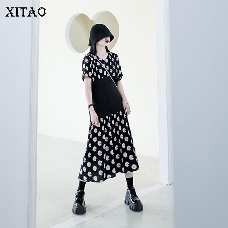 XITAO Hit Color Women Dress Fashion Patchwork 2020 Summer Pullover Goddess Fan Minority Elegant Patchwork Loose Dress DMY4989