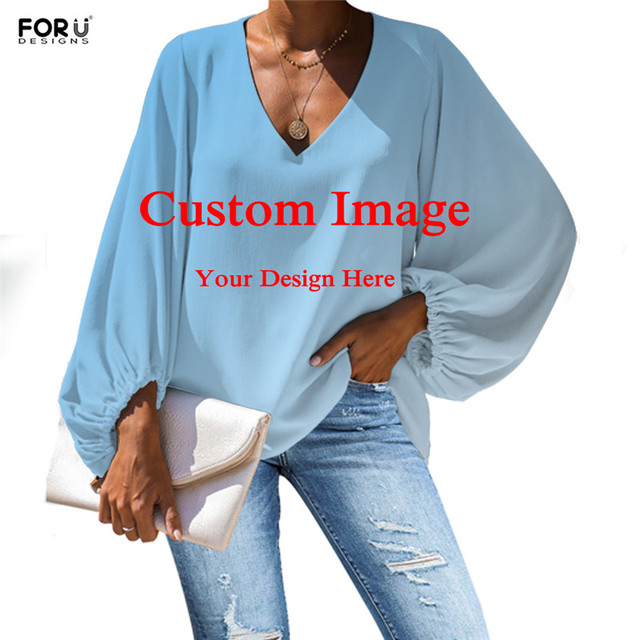 FORUDESIGNS Galaxy Space Printing Women Blouses Long Sleeve Blouse Loose Tunic V Neck Shirts Ladies Chiffon Blouse Sexy Tops 3