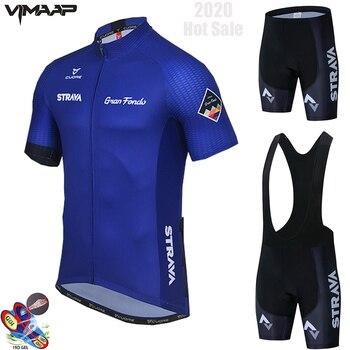 STRAVA-Maillot profesional bicicleta para hombre, camiseta de manga corta, transpirable, color azul,...