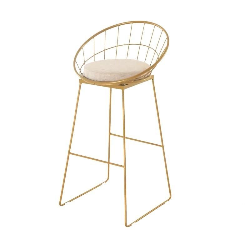 Europe Bar Counter Chair Originality Metal Clematis Bar Chair Concise Bar Chair Golden High Footstool Modern Iron Dining Chair
