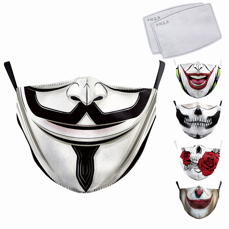 Reusable Face Mask 3D Printed Skull Big Mouth Mask Washable Cotton Protective Mask Anti Dust Pollution Fashion PM2.5 Mask Filter