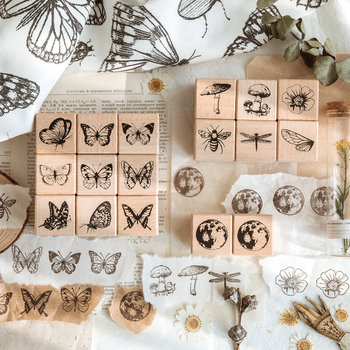 16 sztuk partia forest Herbarium serii znaczek DIY drewniane pieczątki do scrapbookingu papiernicze scrapbooking standardowy znaczek tanie i dobre opinie CN (pochodzenie)