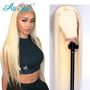 Image 1 - Alisky 613 perruque frontale préplumée miel Blonde dentelle avant perruque cheveux humains Remy brésilien droite pleine dentelle avant perruques de cheveux humains