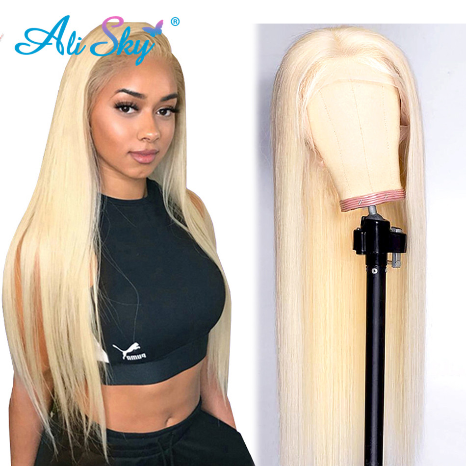 Alisky 613 Frontal Wig Preplucked Honey Blonde Lace Front Wig Human Hair Remy Brazilian Straight Full Lace Front Human Hair Wigs image