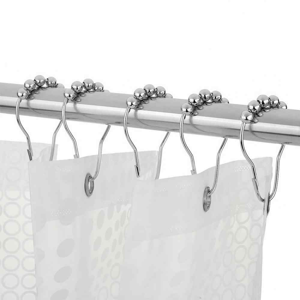 12 Buah/Bungkus Roller Shower Tirai Cincin Kait Tahan Karat Tirai Kamar Mandi Aksesoris Dipoles Satin Nikel Besi Pengait