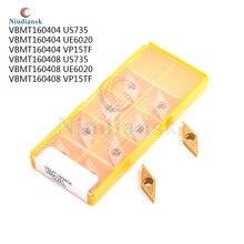 10Pcs VBMT160404 US735 UE6020 VP15TF VBMT160408 US735 UE6020 VP15TF CNC drehen werkzeuge Hartmetall legierung einsätze für stahl verarbeitung