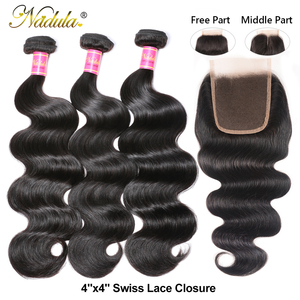 Image 2 - Nadula שיער ברזילאי גוף גל חבילות עם סגירת 4*4 סגירת תחרה ברזילאי שיער Weave חבילות עם סגירת שחור שישי