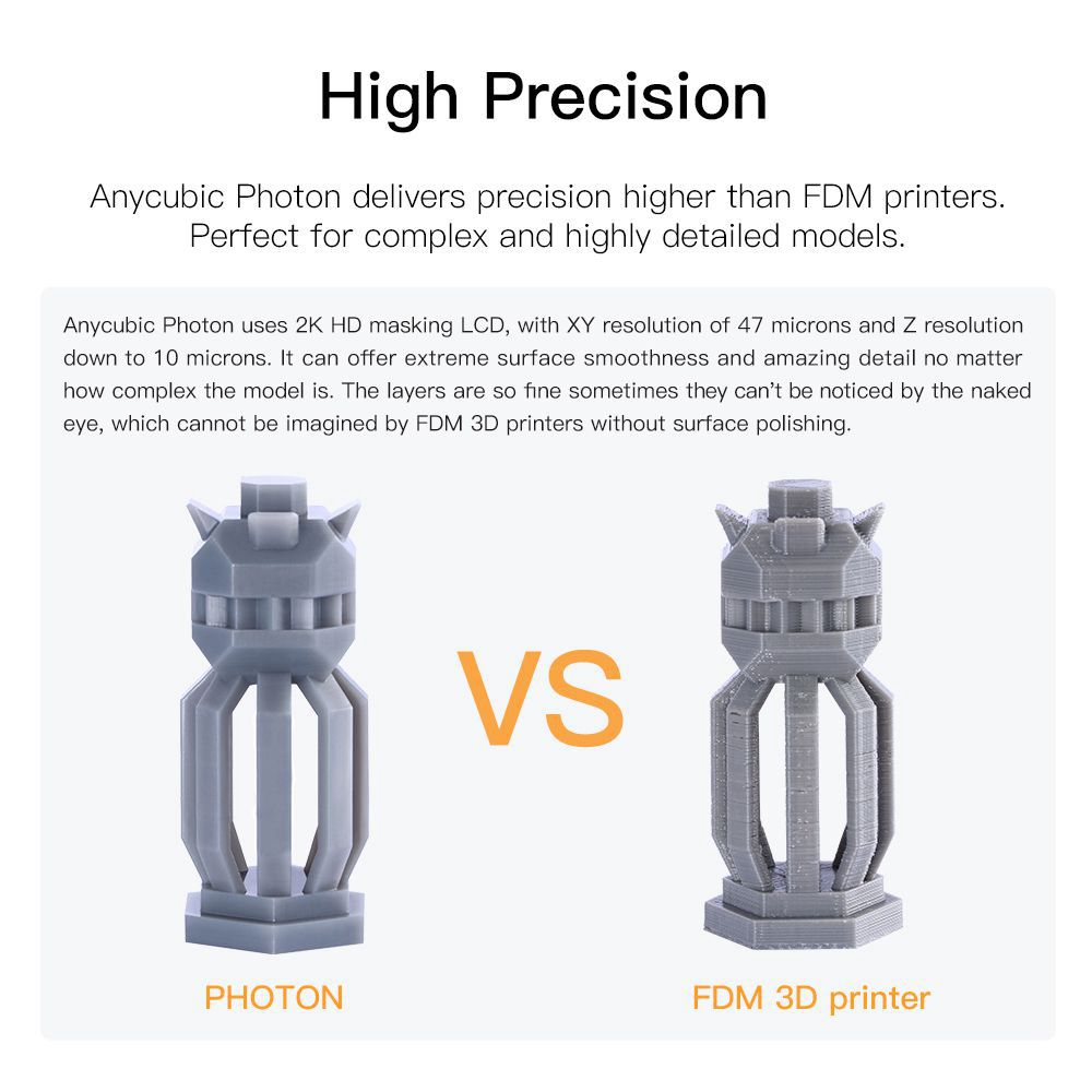 Image 2 - ANYCUBIC Photon SLA 3D Printer UV LCD Resin Assembled 2K Screen Plus Size Off Line Print Impresora 3d Drucker 3D Printer Kit    -in 3D Printers from Computer & Office