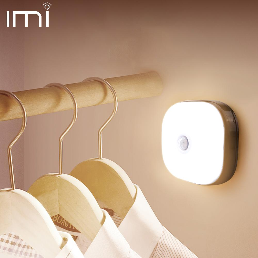 Night Light Motion Sensor Bedroom Lamp LED Lights Mini Square For Baby Wardrobe Lighting Wall Decoration Children's Room