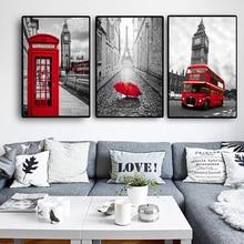 Póster carteles nórdicos e impresiones pinturas para pared de salón imágenes decorativas artísticas lienzo impreso Ciudad Londres París paisaje