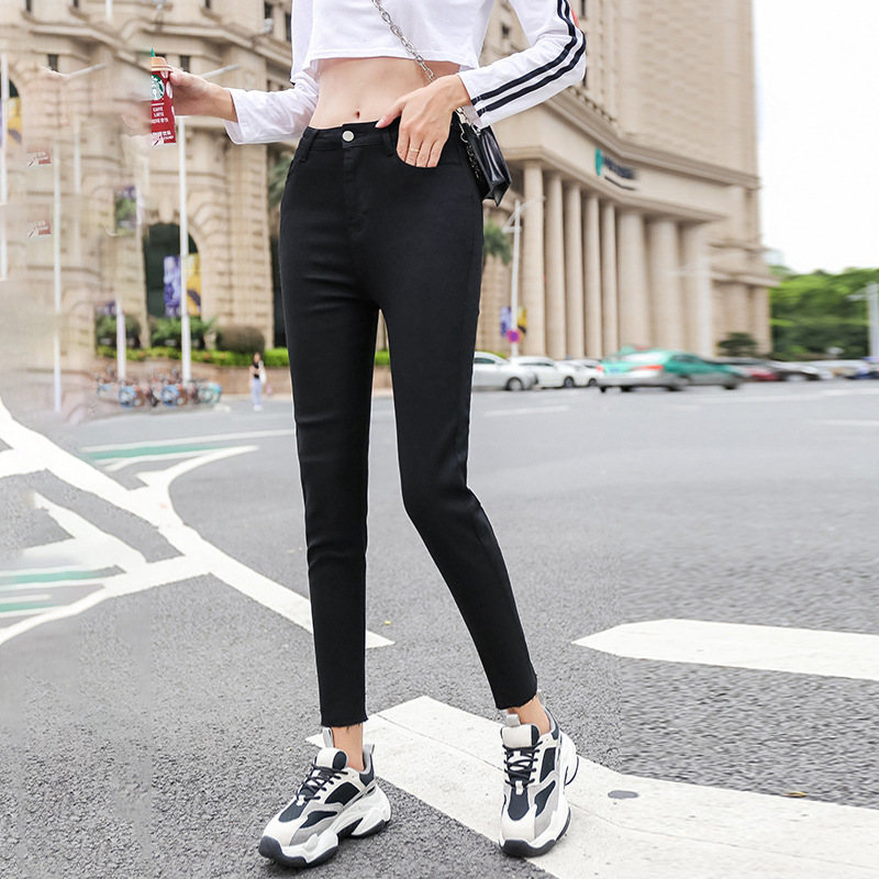 2019 Autumn & Winter Dark Blue Jeans Women's Skinny Straight-Cut Korean-style Tight Slimming High Net Red Tide High-waist Ankle-