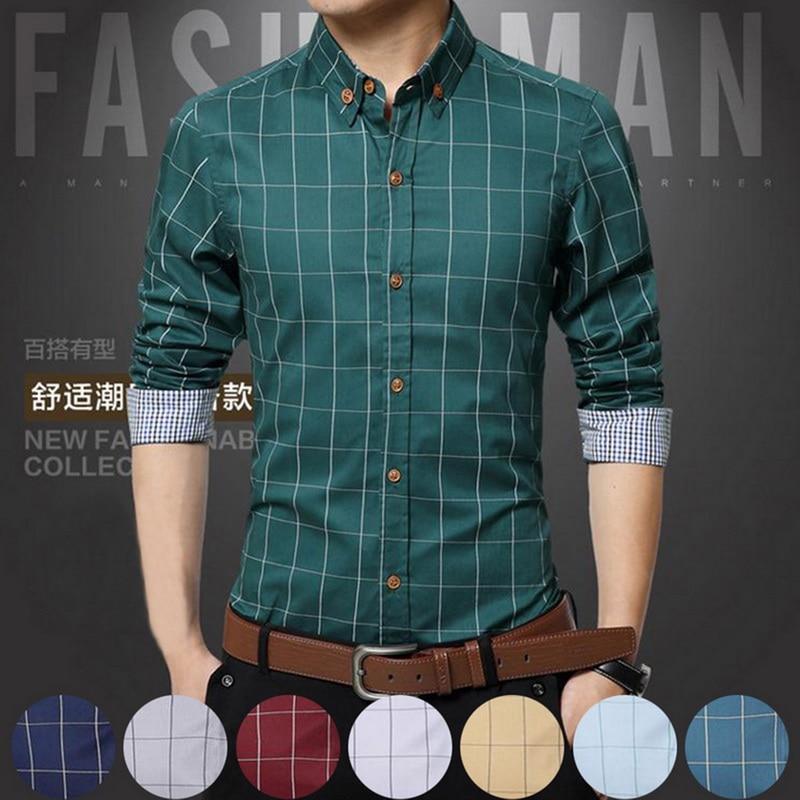 5XL Plaid Printed Long Sleeve Formal Men Shirt Turn-down Collar Male Business Dress Fashion Patchwork Shirts Tops