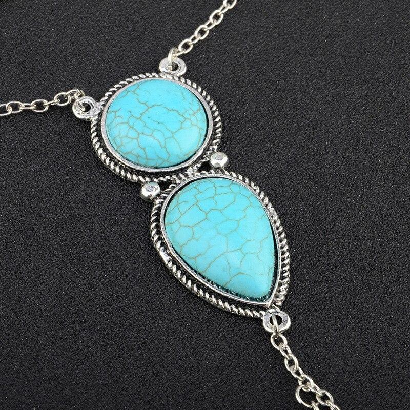 Sindlan Bohemia Blue Natural Stone Bracelet for Women Ring Wrist Chain Set Ethnic Simple Bangle Bracelets Fashion Finger Jewelry
