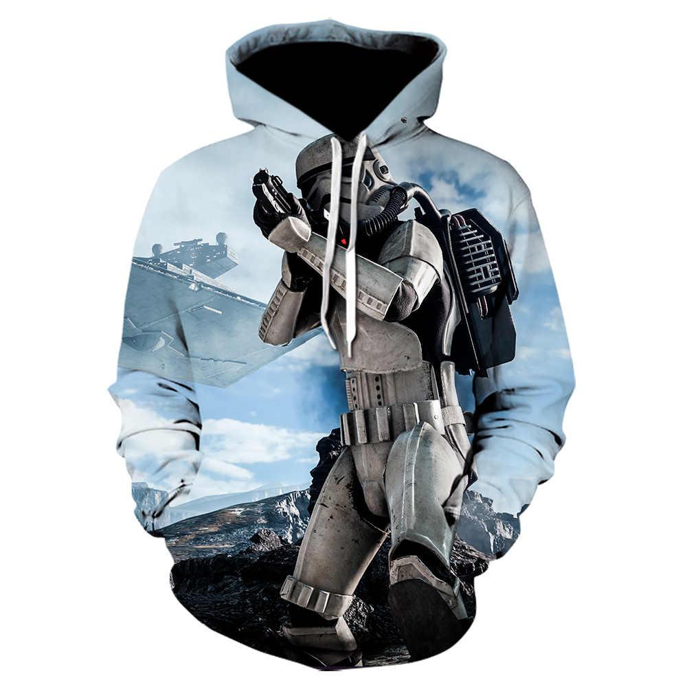 2019 nouvelle mode 3D impression à capuche Harajuku sudadera hombre star wars film hoodies hip hop manteau veste manches longues blanc cassé