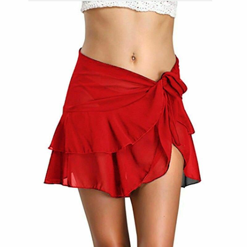 Hirigin Sexy Women Swimwear Bohemian Elastic Waist Solid Mini Skirt Women Ruffles Short Swing Beach Skirts Chiffon Cover-Ups