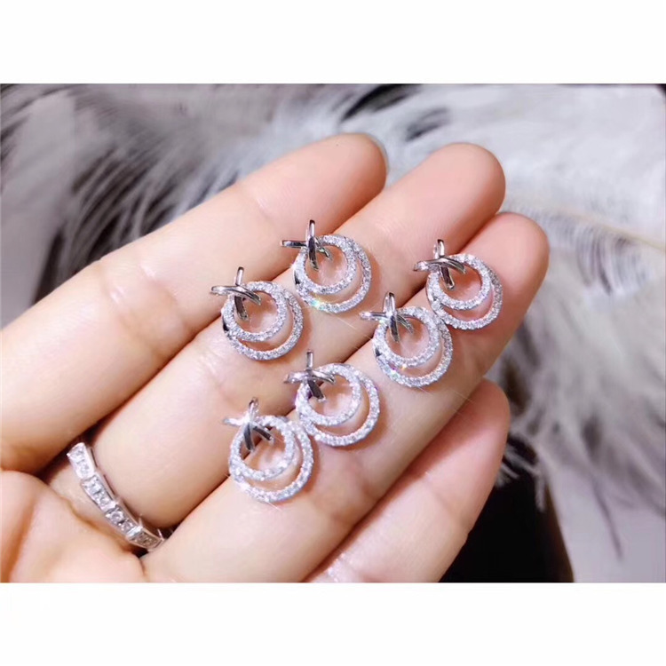 New Arrival Cute Rould Silver Color Stud Earrings With Bling Zircon Stone For Women Fashion Jewelry Korean Earrings