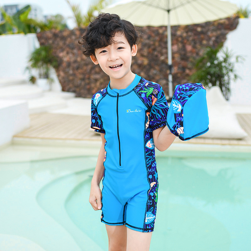 BOY'S Swimsuit Children New Style Korean-style One-piece Short Sleeve Boxer Children Diving Suit Sun-resistant Quick-Dry Swimwea
